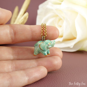 Green Elephant Necklace in Ceramic - The Folky Fox