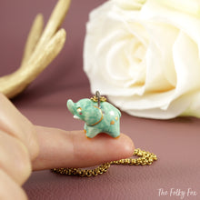 Load image into Gallery viewer, Green Elephant Necklace in Ceramic - The Folky Fox