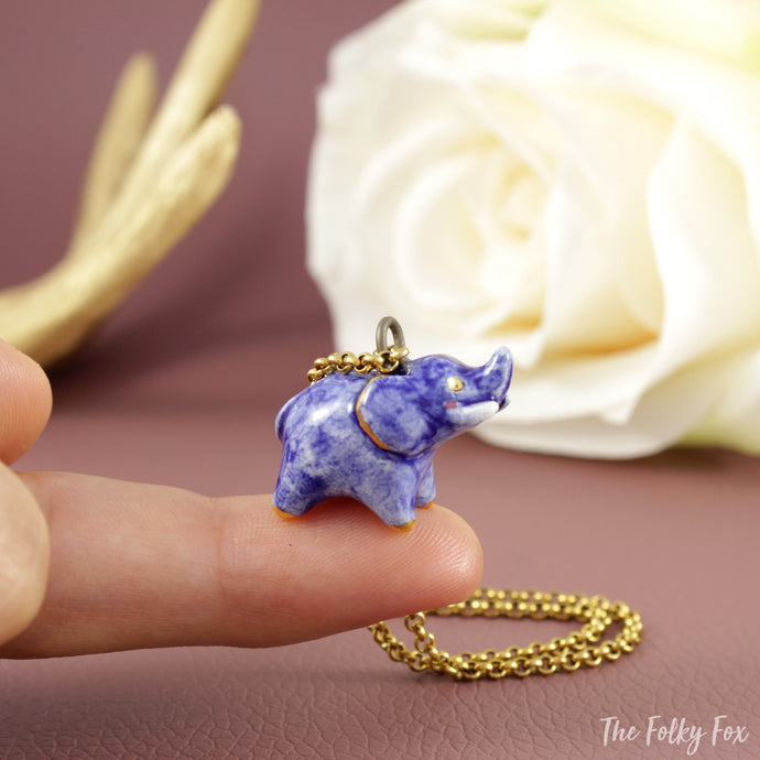Blue Elephant Necklace in Ceramic