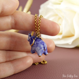 Blue Elephant Necklace in Ceramic - The Folky Fox