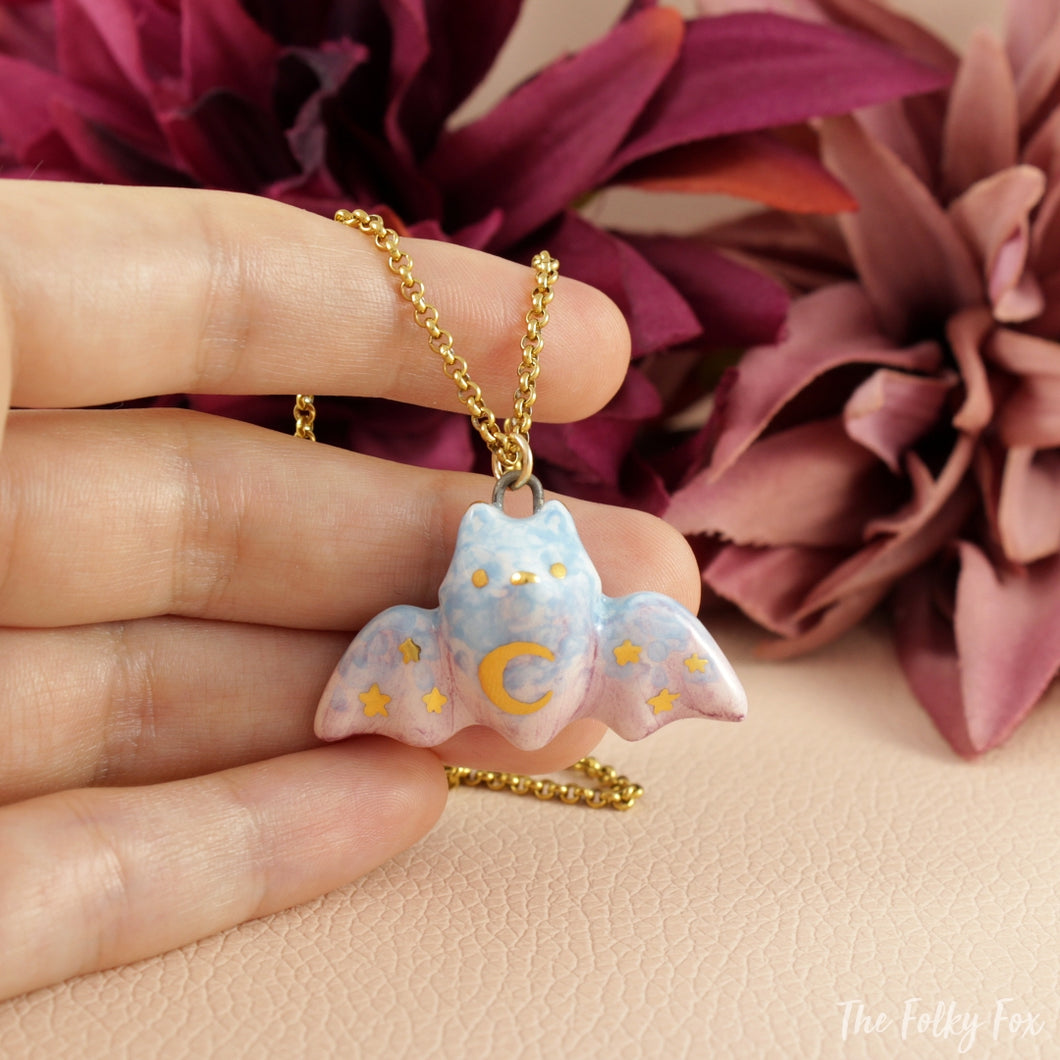 Moon Bat Necklace in Ceramic - The Folky Fox