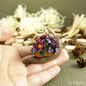 Spring Snail Sculpture in Polymer Clay - The Folky Fox