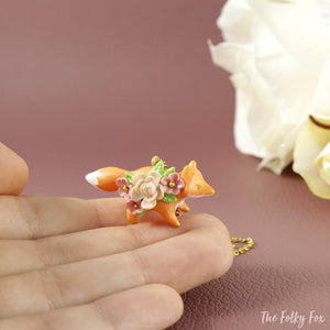 Floral Fox Necklace in Polymer Clay 5 - The Folky Fox