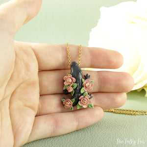 Black Crocodile Necklace in Polymer Clay - The Folky Fox