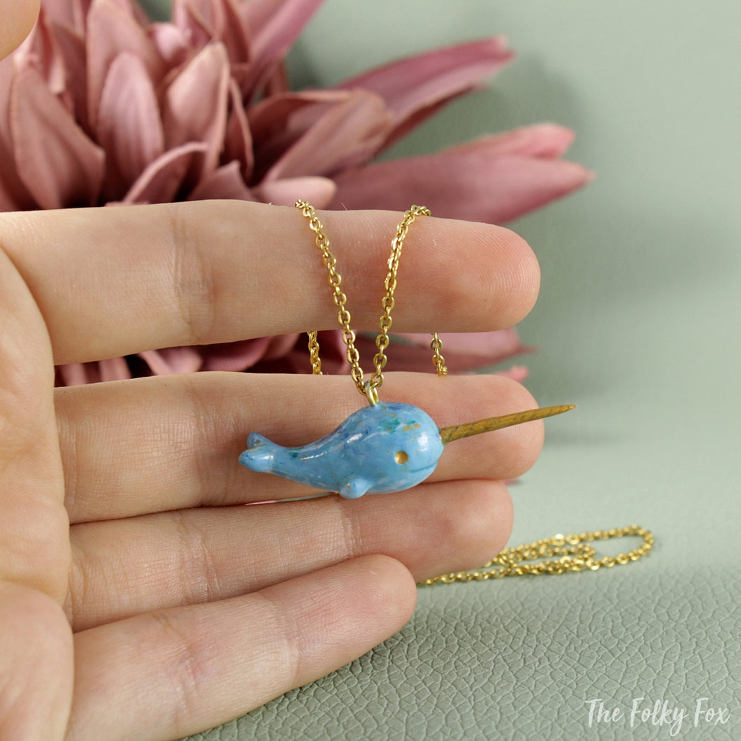 Narwhal Necklace in Polymer Clay - The Folky Fox