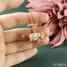 Load image into Gallery viewer, Floral Fox Necklace in Polymer Clay 3 - The Folky Fox
