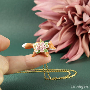 Floral Fox Necklace in Polymer Clay 3 - The Folky Fox