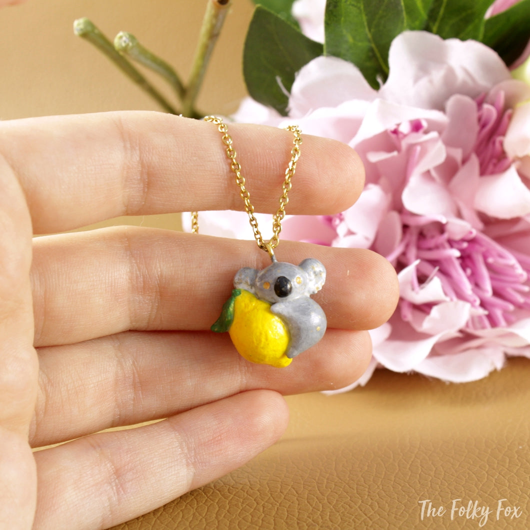 Lemon Koala Necklace in Polymer Clay - The Folky Fox