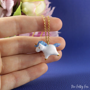 Unicorn Necklace in Polymer Clay - The Folky Fox