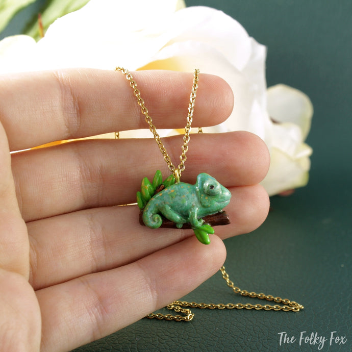 Chameleon Necklace in Polymer Clay - The Folky Fox