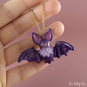 Bat Necklace in Polymer Clay 1 - The Folky Fox