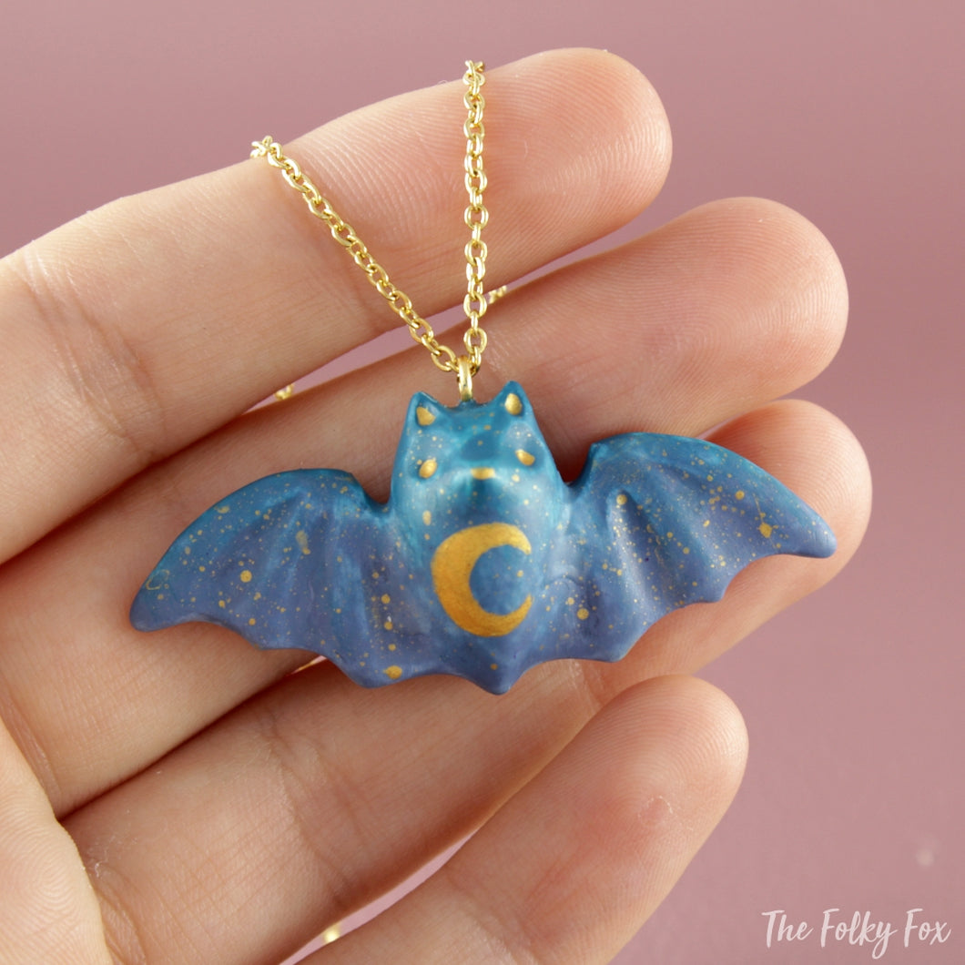 Colored Bat Necklace in Polymer Clay 1 - The Folky Fox