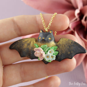 Floral Bat Necklace in Polymer Clay 2 - The Folky Fox
