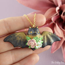 Load image into Gallery viewer, Floral Bat Necklace in Polymer Clay 2 - The Folky Fox