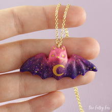 Load image into Gallery viewer, Colored Bat Necklace in Polymer Clay 2 - The Folky Fox