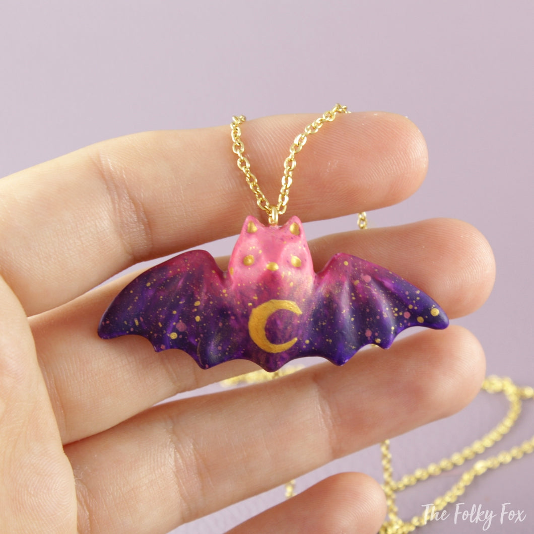 Colored Bat Necklace in Polymer Clay 2 - The Folky Fox