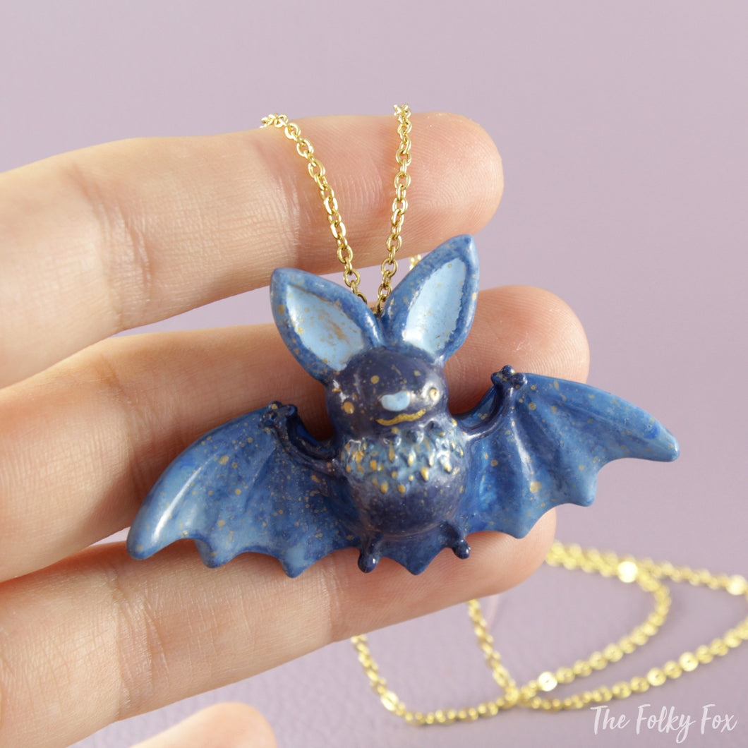 Bat Necklace in Polymer Clay 2 - The Folky Fox