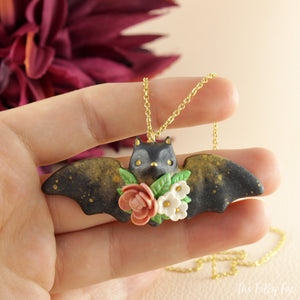 Floral Bat Necklace in Polymer Clay 3 - The Folky Fox