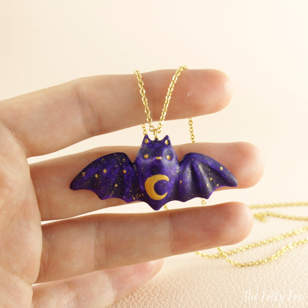 Colored Bat Necklace in Polymer Clay 3 - The Folky Fox