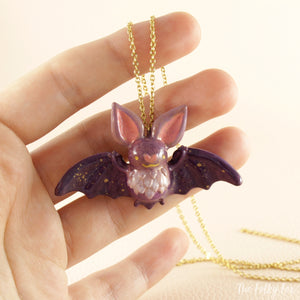 Bat Necklace in Polymer Clay 3 - The Folky Fox