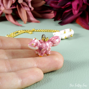 Pink Fox Necklace in Ceramic - The Folky Fox
