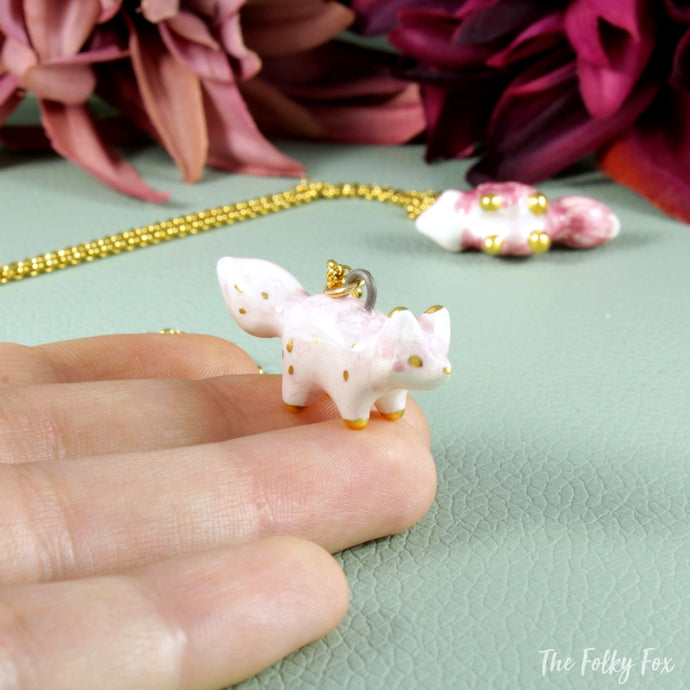 White Fox Necklace in Ceramic
