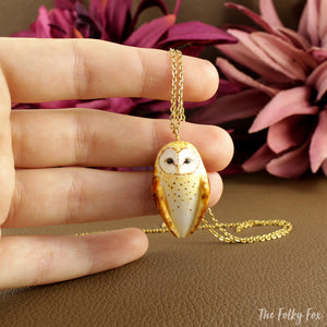 Barn Owl Necklace in Polymer Clay - The Folky Fox