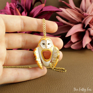 Barn Owl with a Red Jasper Stone - Necklace in Polymer Clay - The Folky Fox