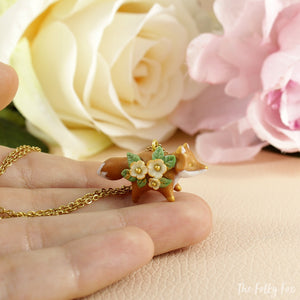 Floral Fox Necklace in Polymer Clay 1 - The Folky Fox