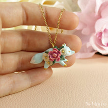 Load image into Gallery viewer, Floral Fox Necklace in Polymer Clay 2 - The Folky Fox