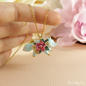 Floral Fox Necklace in Polymer Clay 2 - The Folky Fox