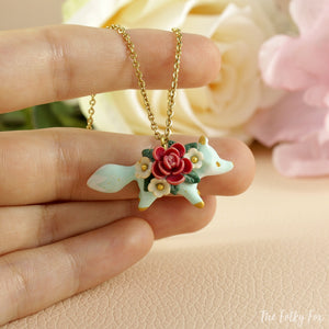 Floral Fox Necklace in Polymer Clay 4 - The Folky Fox