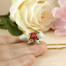 Load image into Gallery viewer, Floral Fox Necklace in Polymer Clay 4 - The Folky Fox