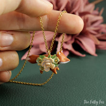 Load image into Gallery viewer, Floral Fox Necklace in Polymer Clay 6 - The Folky Fox