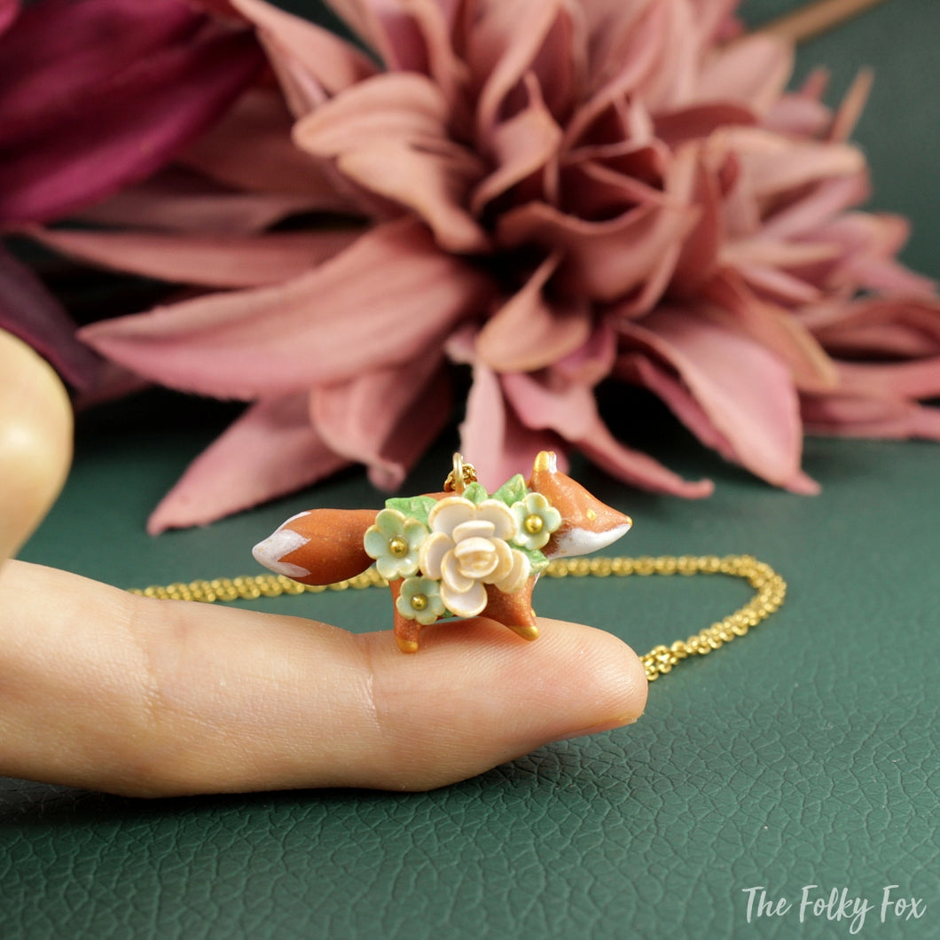 Floral Fox Necklace in Polymer Clay 6 - The Folky Fox