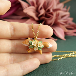 Floral Fox Necklace in Polymer Clay 7 - The Folky Fox