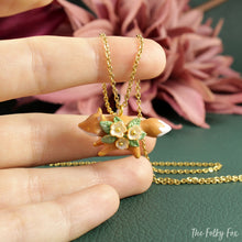 Load image into Gallery viewer, Floral Fox Necklace in Polymer Clay 7 - The Folky Fox