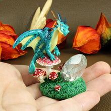 Load image into Gallery viewer, Crystal Dragon with Mushroom Sculpture in Polymer Clay - The Folky Fox