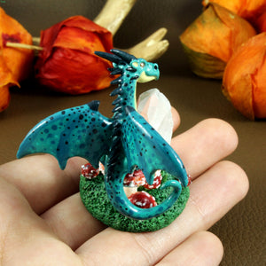 Crystal Dragon with Mushroom Sculpture in Polymer Clay - The Folky Fox
