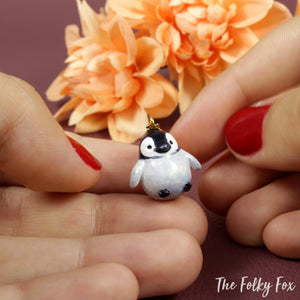Penguin Necklace in Polymer Clay - The Folky Fox