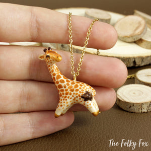 Giraffe Necklace in Polymer Clay - The Folky Fox