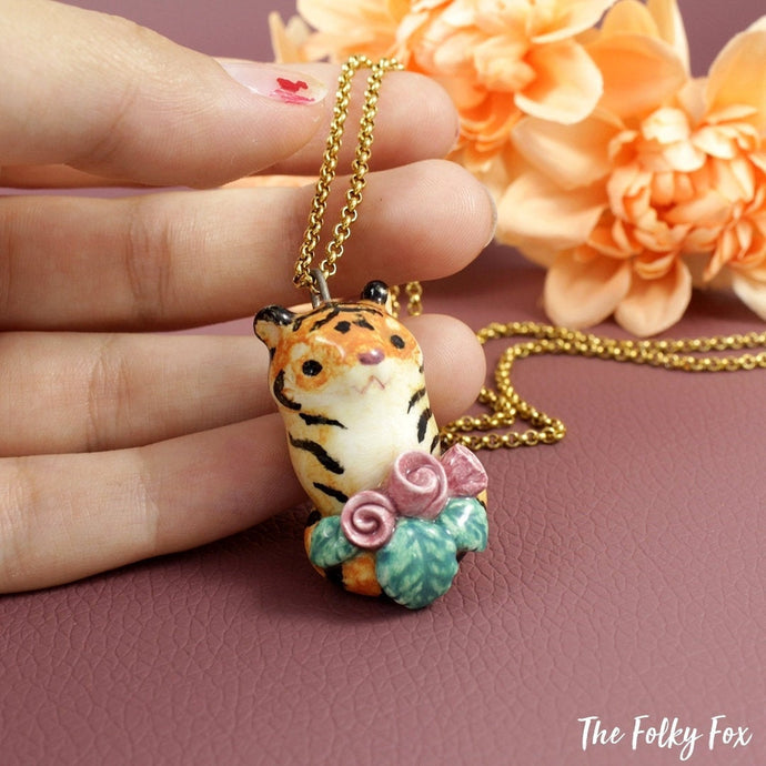 Tiger Necklace with Roses in Ceramic - The Folky Fox