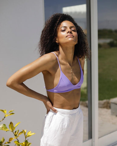 consious swimwear purple bikini sustainable