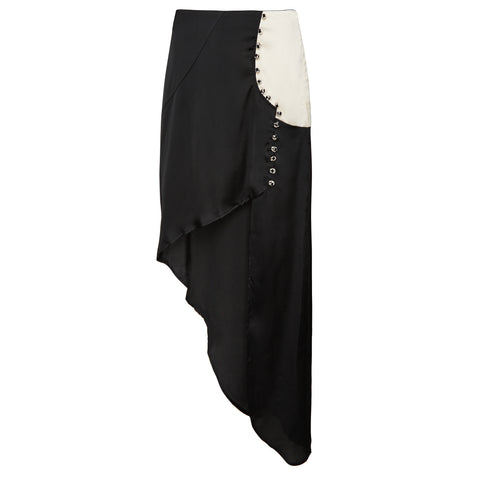 black and white button up skirt rent hire