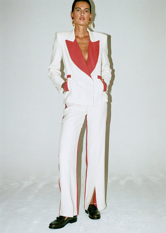vienso red white suit valentines day outfit rent hire