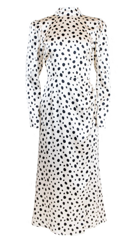 black and white spotted reformation dress rent