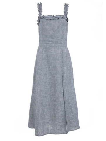grey reformation linen dress