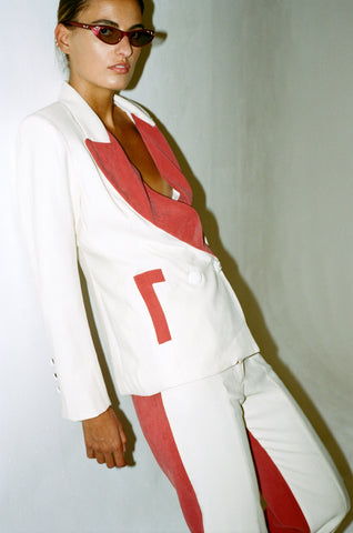 vienso white red suit