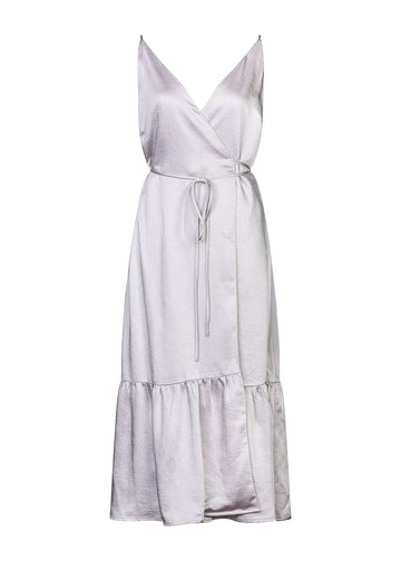 Rent Gestuz Lilac Satin Wrap Dress from Rotaro