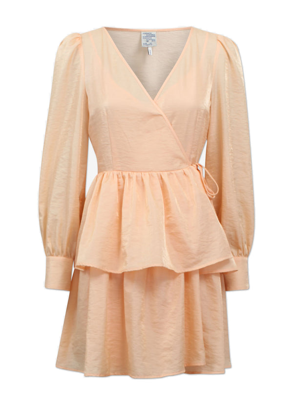 Rent Baum Und Pferdgarten Akeisha Peach Mini Wrap Dress from Rotaro